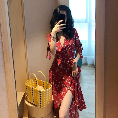 Casual Slim V-neck High Waist Basic Flower Printing Female Women Street 2020 Summer New Arrival Half Sleeve Chiffon Dresses