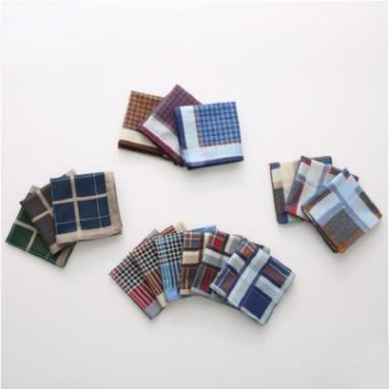 12 Pcs/lot 100% Cotton Solid  Plaid Men Handkerchief Export Item 40cm*40cm