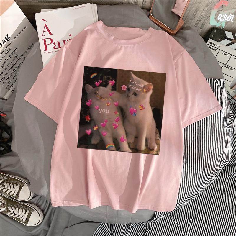 Summer 2020 Pink Kpop Blouse Women Kawaii Cute Cat Love Blouses Harajuku Short Sleeve Vogue Streetwear Blusas Casual Women Tops