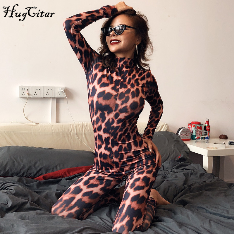 Hugcitar 2019 Leopard Print Long Sleeve Jumpsuit Autumn Winter Women Slim Bodycon Streetwear High Neck Zippers Outfits Club Body