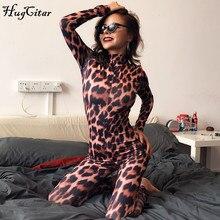 Hugcitar 2019 leopard print long sleeve jumpsuit autumn winter women slim bodycon streetwear high neck zippers outfits club body