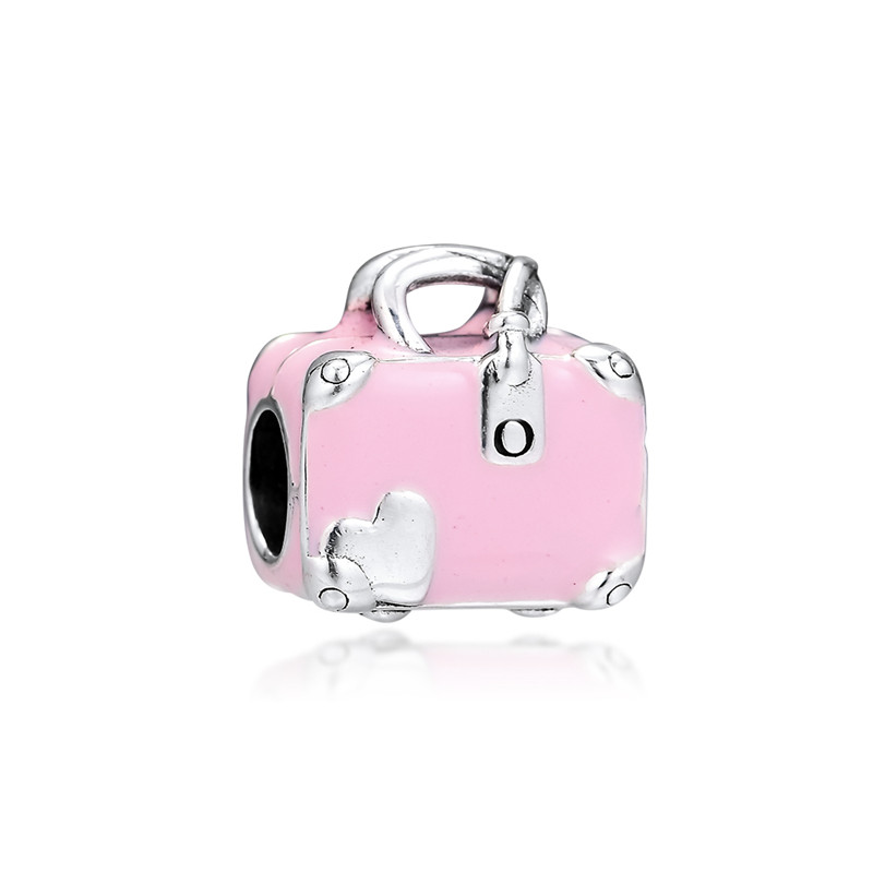 Original 925 Sterling Silver Bead Pink Travel Bag Charm Beads Fit Pandora Bracelet Bangle for Women DIY Euroepe Jewelry Kralen in Beads from Jewelry Accessories