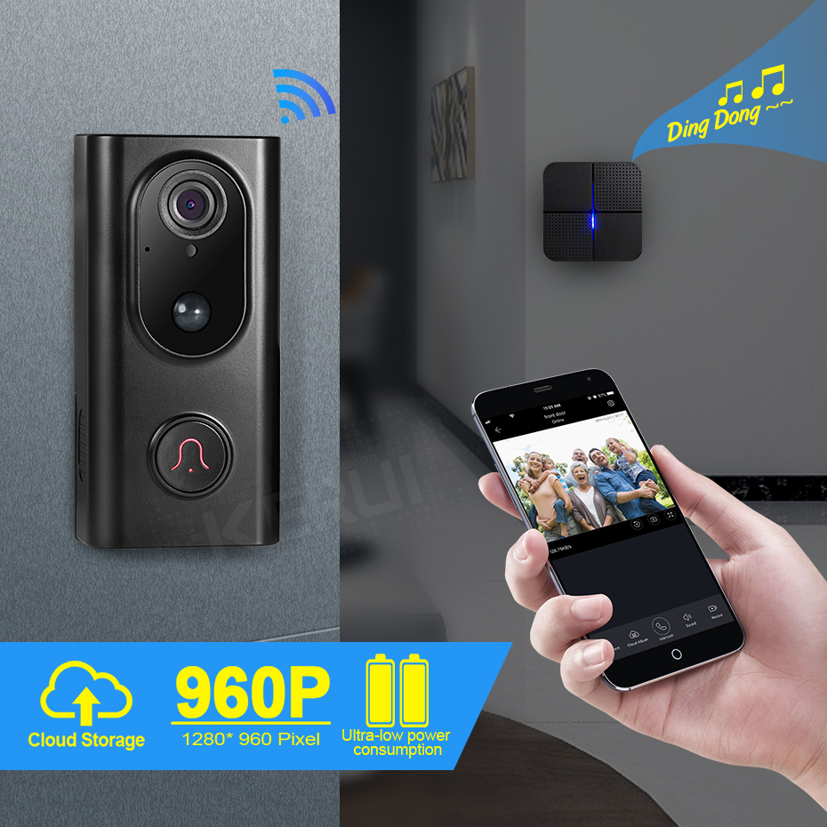 KERUI WIFI Video Doorbell Wireless Intercom Doorbell HD 960P WIFI Camera Door Bell Night Vision APP View WIFI Intercom Doorbell