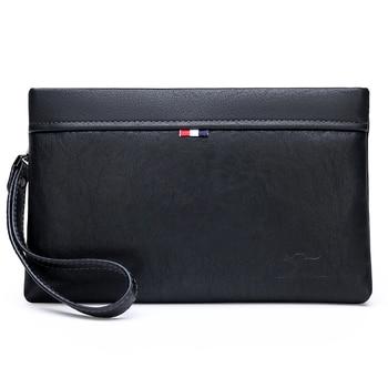 KANGAROO Luxury Brand Men Clutch Bag Leather Long Purse Money Bag Business Wristlet Phone Wallet Male Casual Handy Bag For IPAD цена 2017
