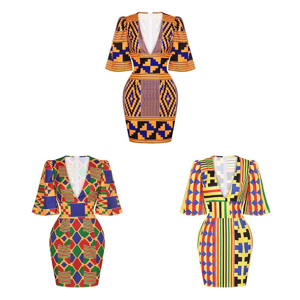 African Short Sleeve Printing Dress 2