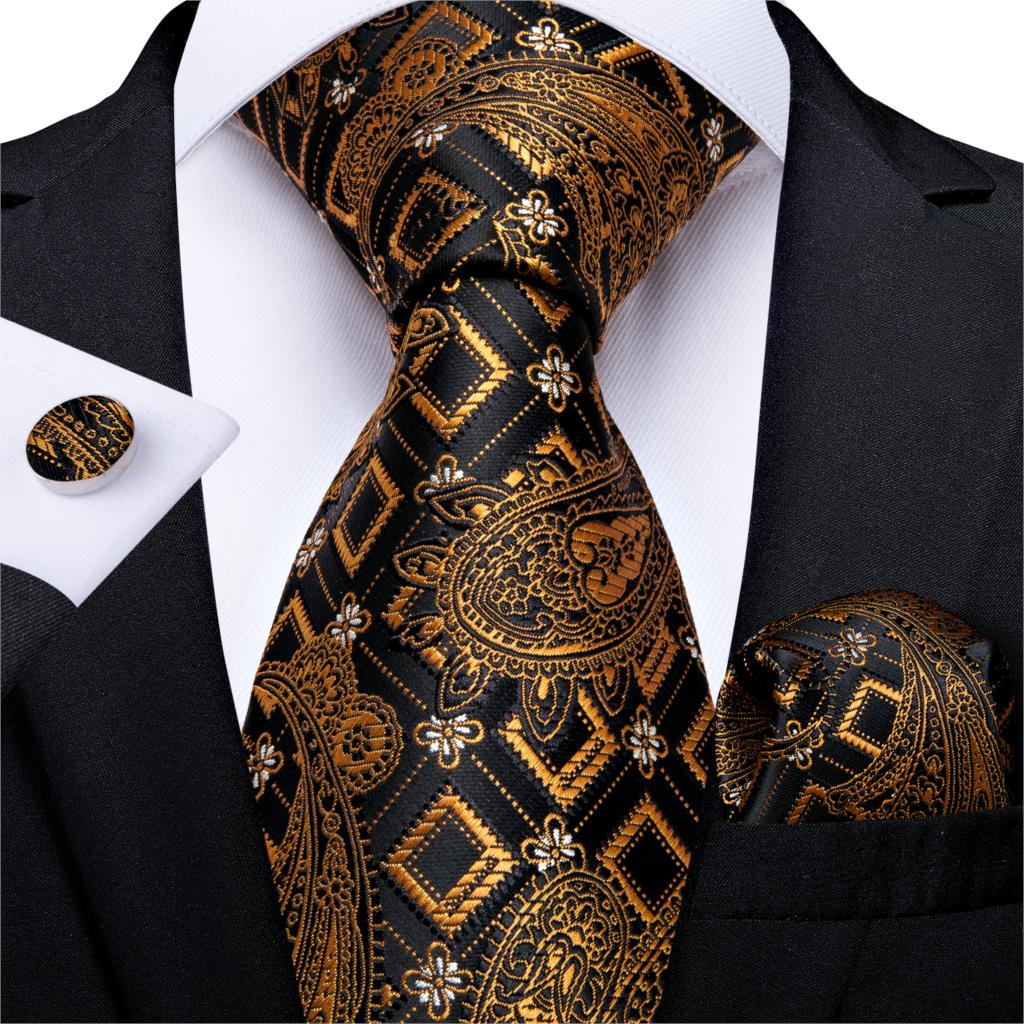 Men Tie Black Gold Paisley Quality Wedding Tie For Men Tie Hanky Cufflinks Silk Tie Set DiBanGu Designer Business Party MJ-7298