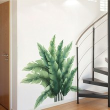 Green Vegetation Large Leaves Wall Stickers Creative Home Wall Decoration Stickers Removable Vinyl Mural Decals(China)