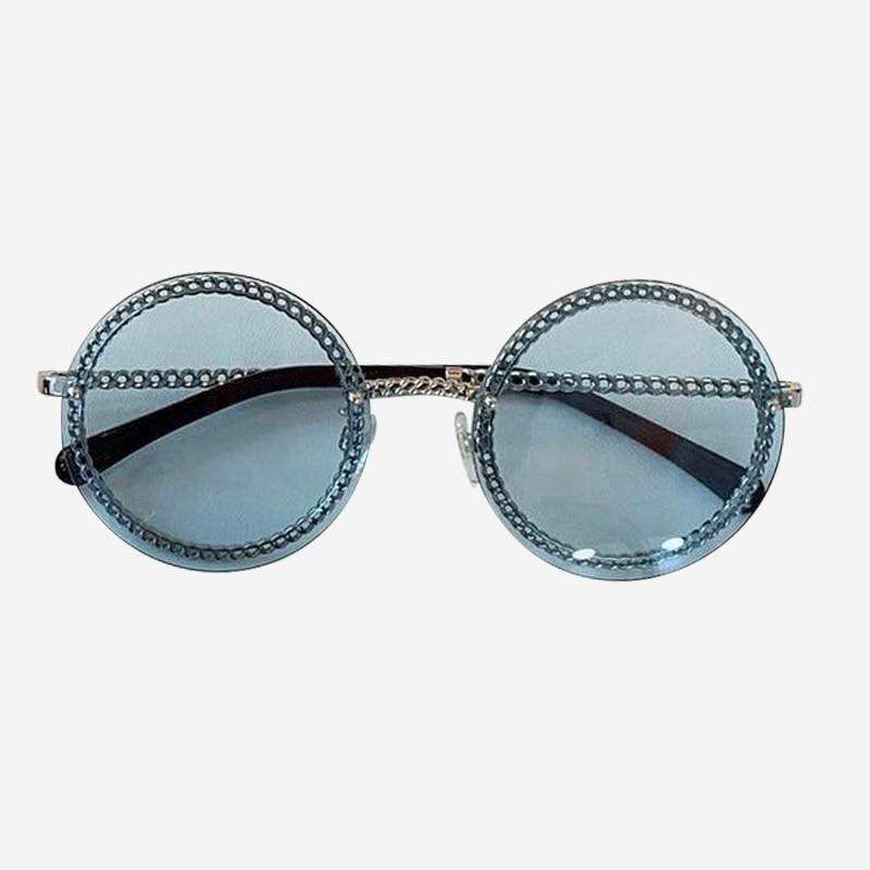 Cadeia rodada Óculos De Sol de Marca Designer de Alta Qualidade Shades Oculos de sol Feminino Da Forma Do Vintage com Caixa de Embalagem