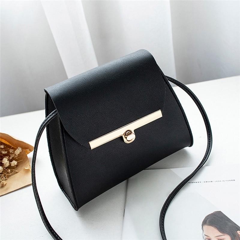 Simple Flap Shoulder PU Leather Bags For Women 2019 Girls Pure Color Mini Messenger Chest Bag Crossbody Handbags Bolsa Feminina