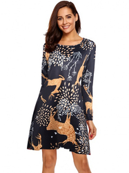 S-5XL Plus Size Christmas Day O Neck Long Sleeve Deer Snow Man Print Dress Women Clothes Casual Loose Knee Length Party Dresses 6
