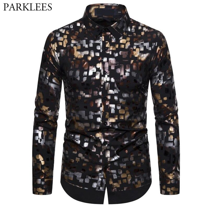 Shiny Colorful Printed Black Mens Long Sleeve Shirts Ropa De Hombre 2020 Fashion Bronzing Men Dress Shirt Camisas Para Hombre