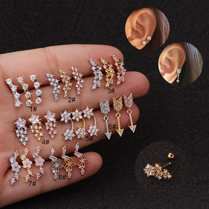 1Piece 3A Long Zircon designs rose gold silver Cartilage Stud Helix Rook Conch Screw Back Earring Cz ear tragus piercing Jewelry
