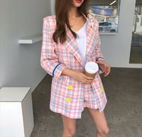 Women Korea Plaid Blazers Suit casual Long Sleeve Coats Double Breasted Jackets shorts Elegant Two Piece Suits
