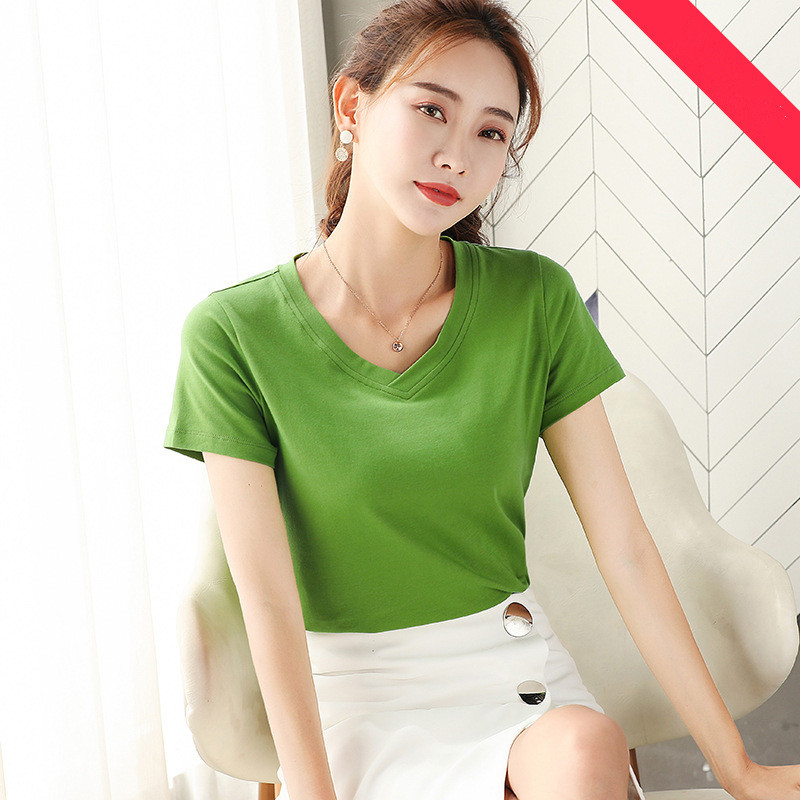 MRMT 2019 Brand New Women's T Shirt Solid Color Slim and Simple T-shirt for Female Short Sleeve Leisure V Collar Tops Tshirt