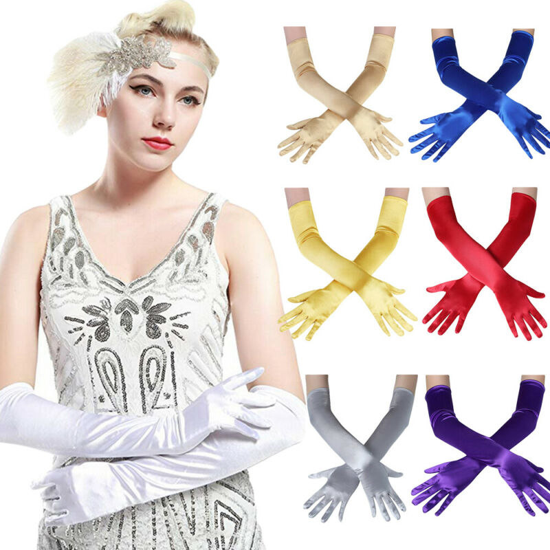 Fashion Long Gloves Satin Opera Evening Party Prom Costume Glove Black Blue Gold Pink