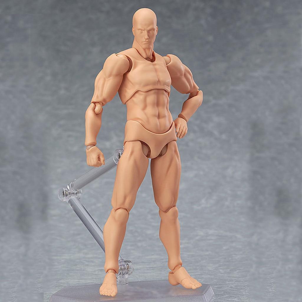 PVC body figures Model Mannequin bjd Art Sketch Draw figurine 3D13cm Action Figure Toys Artist Movable Male Female Joint figure