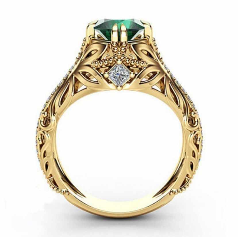 ทองเพชรมรกตเครื่องประดับเครื่องประดับ Etoile Anillos เพชร Bizuteria สำหรับผู้หญิงมรกตหยกแหวน