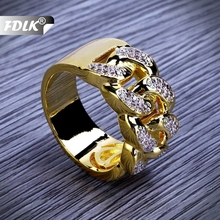 FDLK Gold Hip Hop Rings All Iced Out Micro Pave Cubic Zirconia 13mm Width Cuban Chain Ring for Women