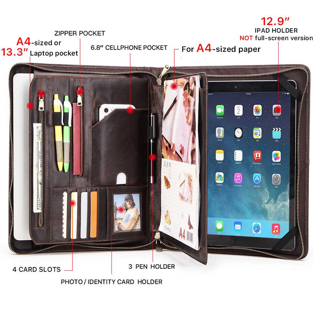 """CONTACT'S FAMIGLIA Retrò Padfolio Cassa del Cuoio Della Mucca per iPad Pro 12.9 """"2020 Documento Ufficiale A4 Portafoglio borsa Per 13.3"""" Macbook Air"""