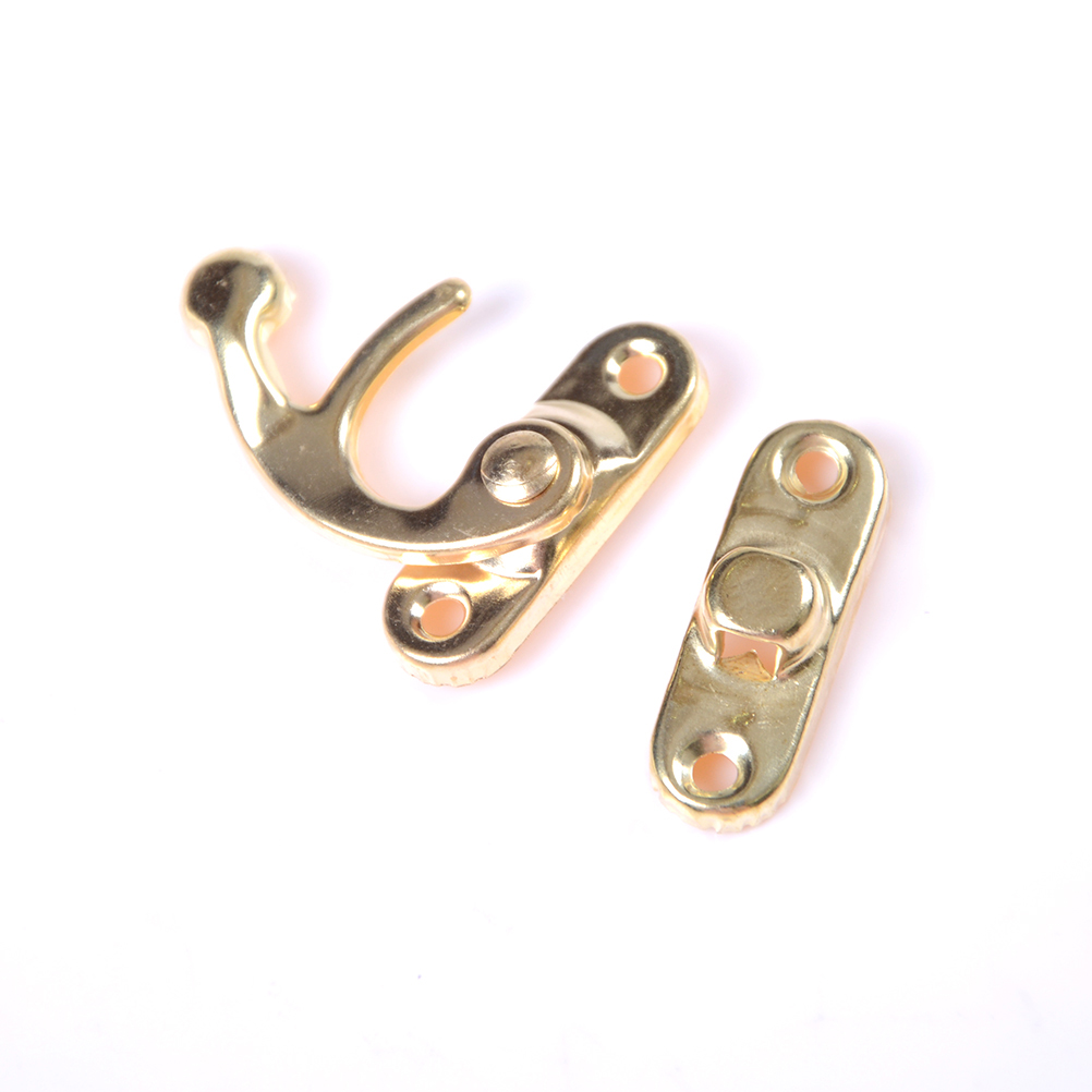 5pcs/lot Antique Metal Lock Mini Hasps Hook For Gift Wooden Jewelry Box Padlock Without Screws Box Hardware Home Decor