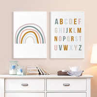 Rainbow Nursery Decor ABC Alphabet Poster Wall Art Canvas Painting Print Pictures New Baby Girls Gift Kids Room Home Decor
