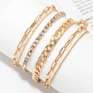 Ankle-Bracelets Leg-Accessories Foot-Jewellery Rhinestone Cheville Fasion Women Summer