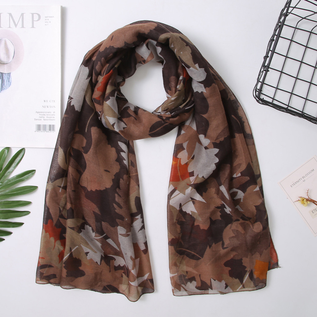 Made in Korea Fashion Autumn Fall Leaves Maples Leaves Scarf Silky feels Scarf