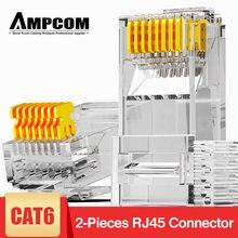 Ampcom cat6 rj45 модульный разъем utp 50μ позолоченный двухкомпонентный