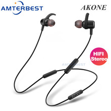 AMTERBEST AKONE Wireless Bluetooth Earphones Stereo Sweatproof Earbuds Sports Headphones Noise Cancelling Headsets for Phones august ep725 wireless sweatproof sports earphones for gym running active noise cancelling bluetooth headphones headsets with mic