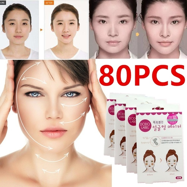 80pcs Lift Face Sticker Thin Face Stick nvisible Sticker Slimming Fat Burning Chin Medical Tape Massage Slim Patch Health Care