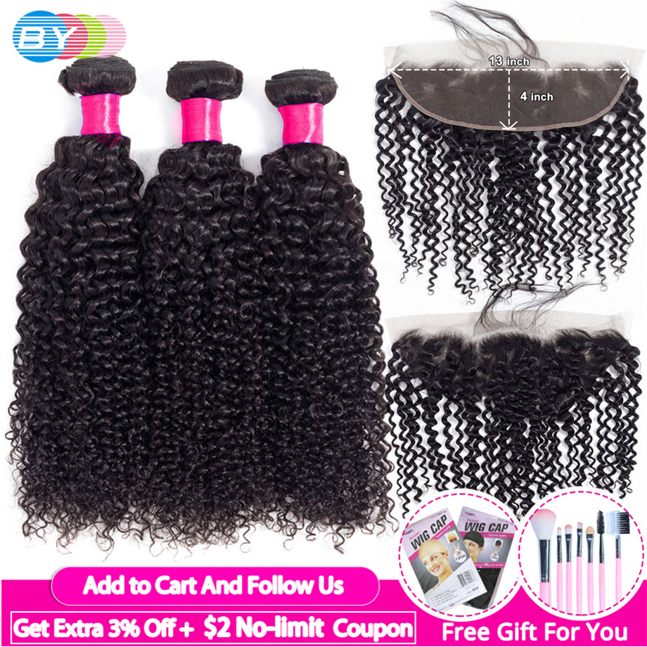 BY Brazilian Kinky Curly Bundles With Lace Frontal Closure Free Part 13