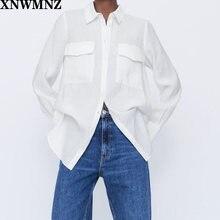 Xnwmnz za Женская 2020 длинная рубашка с карманами Повседневная