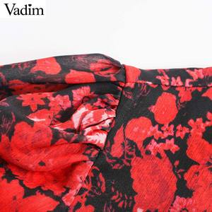 Image 4 - Vadim women fashion floral pattern chiffon dress V neck long sleeve elastic waist stylish midi dresses chic vestidos QD203