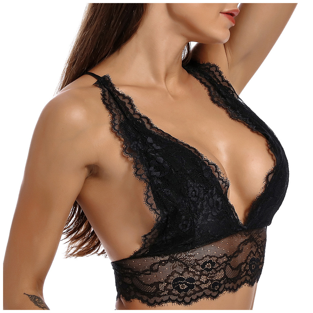 Fashion Women Sexy Lingerie Lace Strap Wrapped Chest Top Bra Underwear Seamless Solid Padded Bras Bralette crop top mujer