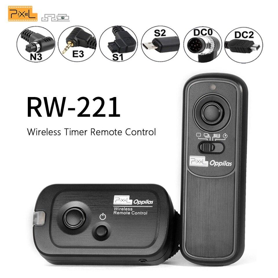 Pixel RW-221 sem fio temporizador de liberação do obturador controle remoto (dc0 dc2 n3 e3 s1 s2) cabo para canon nikon sony câmera vs tw283 RC-6