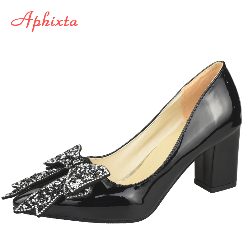 Aphixta Elegant Square Heels Patent Leather Official Pumps Women Bling Sequins Butterfly-knot Pointed Toe Dress Shoes Woman