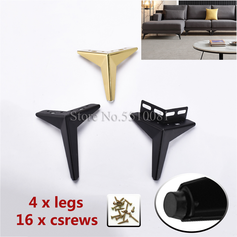 4Pcs/lot H=10/13/15cm Thick Steel Cabinet Leg 15cm Gold Color Table Foot Heavy Duty Wholesale Furniture Legs