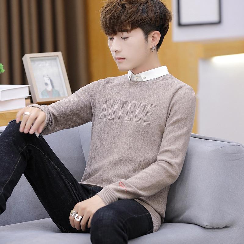 2019 New Style Slim Fit Mock Two-Piece Shirt Collar Sweater Men's Korean-style Base Shirt Autumn Slim Fit Shirt Collar Sweater
