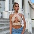 Новые летние однотонные укороченные топы на бретельках для женщин Бандажное отверстие сексуальное платье с открытой спиной без рукавов с п...