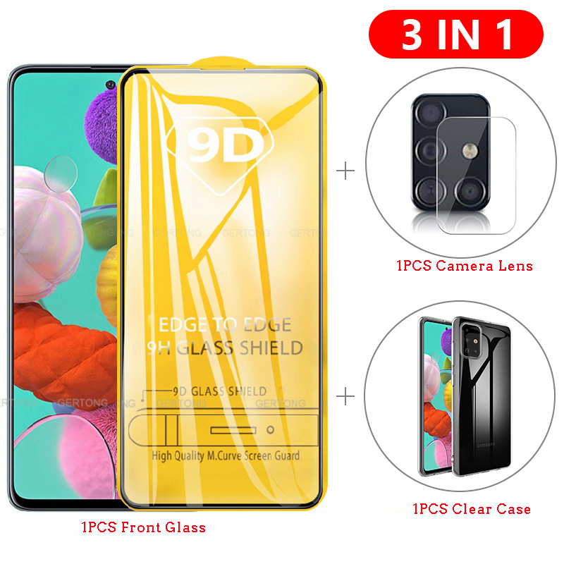 3-in-1 Case + Camera Lens Film Glass For Samsung Galaxy A51 A71 Screen Protector Lens Glass For Galaxy A71 A51 Full Cover Glass