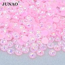 JUNAO 4 5 6mm różowy AB okrągły kwiat z kryształkiem paznokci kryształ Strass naklejki Flatback żywiczne kamienie do paznokci ubrania wyroby jubilerskie