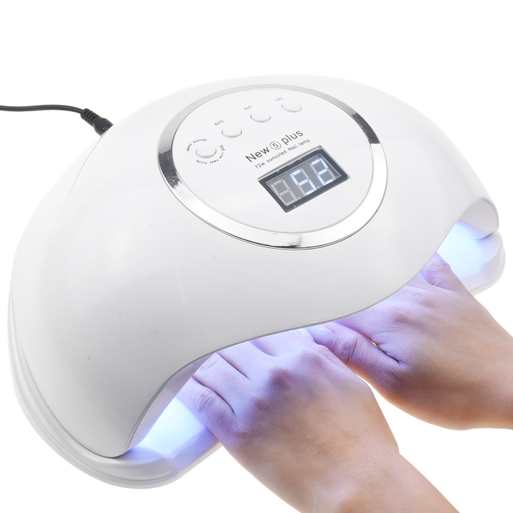 72W NEW5 PLUS Dual UV LED Nail Lamp Nail Dryer Gel Polish Curing Light With Bottom Timer LCD Display Lamp For Nails Nail Dryer