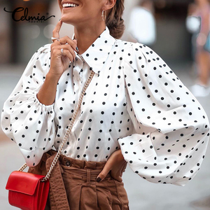 Celmia Chic Stylish Tops 2020 Autumn Women Long Sleeve Polka Dot Blouse Lantern Sleeve Casual Loose Blusas Elegant Ladies Shirts