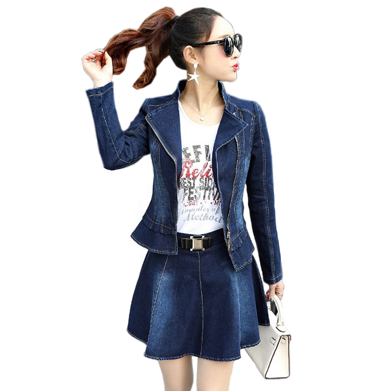 Two piece Skirt Set Women Denim Jacket Zipper Short Jeans Jacket Slim Long Sleeve Jeans Jack Coat Denim Skirt Jacket Female in Women 39 s Sets from Women 39 s Clothing