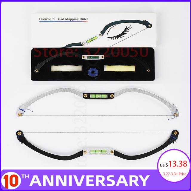 Microblading Permannet Makeup Bow and Arrow Line Ruler Measuring Brow Mapping String Pre Inked tattoo PMU string for mapping