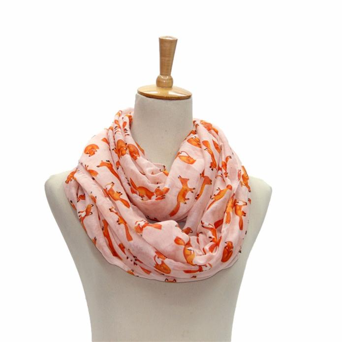Women Fox Pattern Printing Voile Wrap Shawl Scarf Female Vintage Cotton Blanket Scarf Lady Female Wool Plaid Scarf Chale Femme