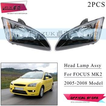ZUK Pair Front Bumper Headlight Headlamp For Focus Hatchback MK2 2005 2006 2007 2008 Head Light Head Lamp Assy Black Type