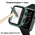 Filme protetor de tela + caso para apple assistir série 1 2 3 4 5 38mm 40mm 42mm 44mm para iwatch pulseira de substituição de vidro temperado