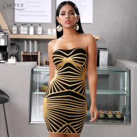 Adyce 2019 New Summer Gold Striped Bandage Dress Women Sexy Strapless Mini Bodycon Club Celebrity Evening Party Dresses Vestidos