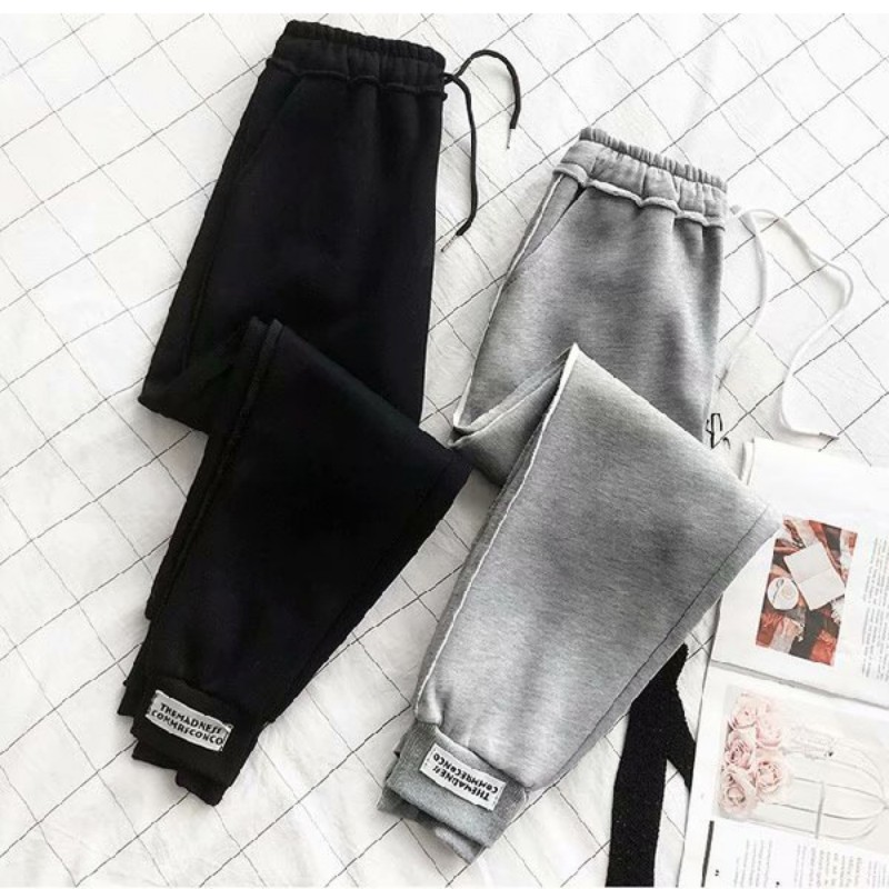 Spring Autumn Pants Ropa Mujer Pantalon Femme Women Casual Loose High-Elastic Sports Side Print Harajuku Feet Nine Points Pants*